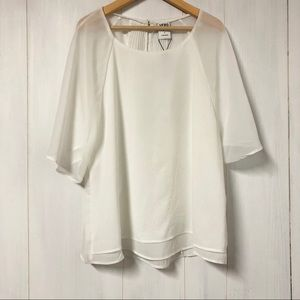 NWT Vero Moda White Flowy Blouse w Pleated Back